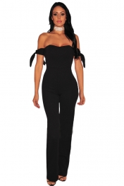 Black Off Shoulder Tie Knot Strapless Jumpsuit