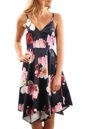 Black Floral Print Asymmetric Hem Sway Dress