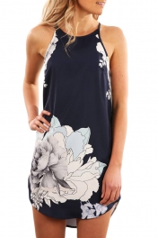 Blooming Peony Print Black Sleeveless Dress