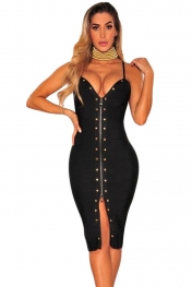 Black Zip Down Front Studded Bandage Dress