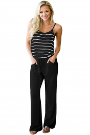 Black Striped Spaghetti Tank Drawstring Jumpsuit