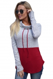 Grey Red Colorblock Drawstring Cowl Neck Sweatshirt