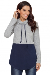 Grey Navy Colorblock Drawstring Cowl Neck Sweatshirt