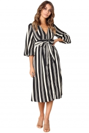 Black Gap Striped V Neck Midi Shirt Dress
