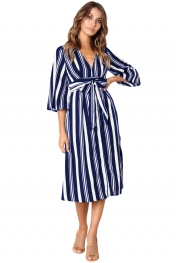 Navy Blue Gap Striped V Neck Midi Shirt Dress
