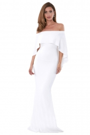 White Off Shoulder Poncho Gown Mermaid Dress