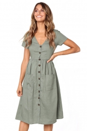 Green Stylish Button Front Midi Dress with Pockets