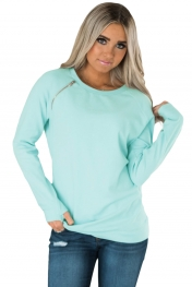 Gold Zip Detail Light Blue Pullover Sweatshirt