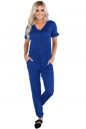 Navy Blue Ruffled Short Sleeve Casual Jersey Jumpsuit