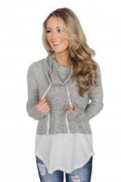 Grey White Colorblock Drawstring Cowl Neck Sweatshirt