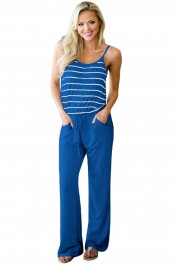 Navy Striped Spaghetti Tank Drawstring Jumpsuit