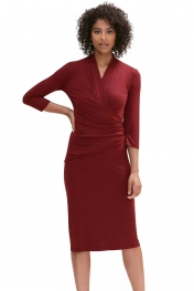 Dark Red Long Sleeve Pleated Wrap Midi Dress