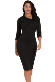 Black Long Sleeve Button Detail Bodycon Midi Dress
