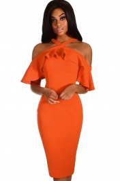 Jacinth Frill Cold Shoulder Midi Dress