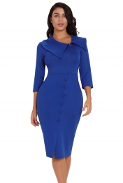 Dark Blue Long Sleeve Button Detail Bodycon Midi Dress