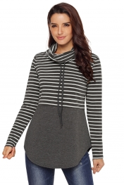 Grey Striped Colorblock Drawstring Cowl Neck Sweatshirt