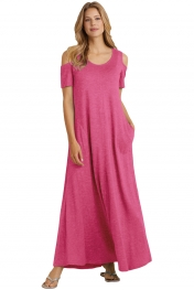 Rosy Cold Shoulder Pocket Style Maxi Dress