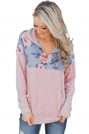 Floral Splice Pink Kangaroo Pocket Zip Collar Sweatshirt