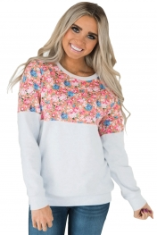Floral Patchwork White Long Sleeve Sweatshirt