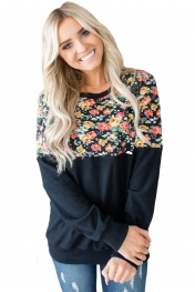 Floral Patchwork Black Long Sleeve Sweatshirt