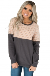Snowflake Patchwork Grey Long Sleeve Sweatshirt