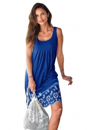Bohemian Flowery Detail Royal Blue Short Tank Dress