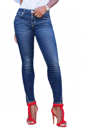 Blue Slit Front Skinny Jeans for Women