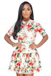 White Multicolor Floral Lace-up Back Short Skater Dress
