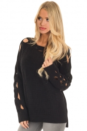 Black Cutout Detail Ribbed Knit Sweater