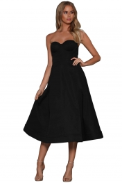 Black Sexy Cupped Strapless Midi Dress