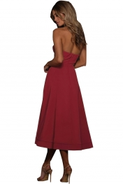 Burgundy Sexy Cupped Strapless Midi Dress
