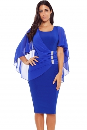 Blue Waist Pleats Rhinestone Detail Midi Dress