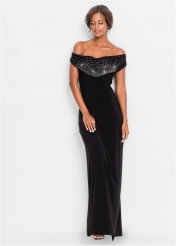 Off Shoulder Strass Bust Cowl Back Evening Dress