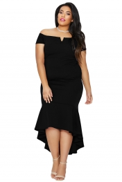 Plus Size,Plus Size Dresses|Black Plus Size Dip Hem Fishtail Midi Dress