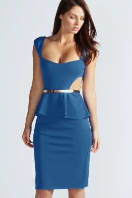 Cut Out Side Belted Peplum Dress Blue
