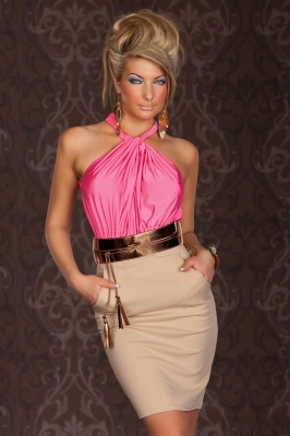 Dizzying Pink Ruched Halterneck Cocktail Fashion Dress
