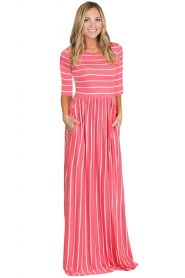 Rosy White Striped Casual Pocket Style Maxi Dress